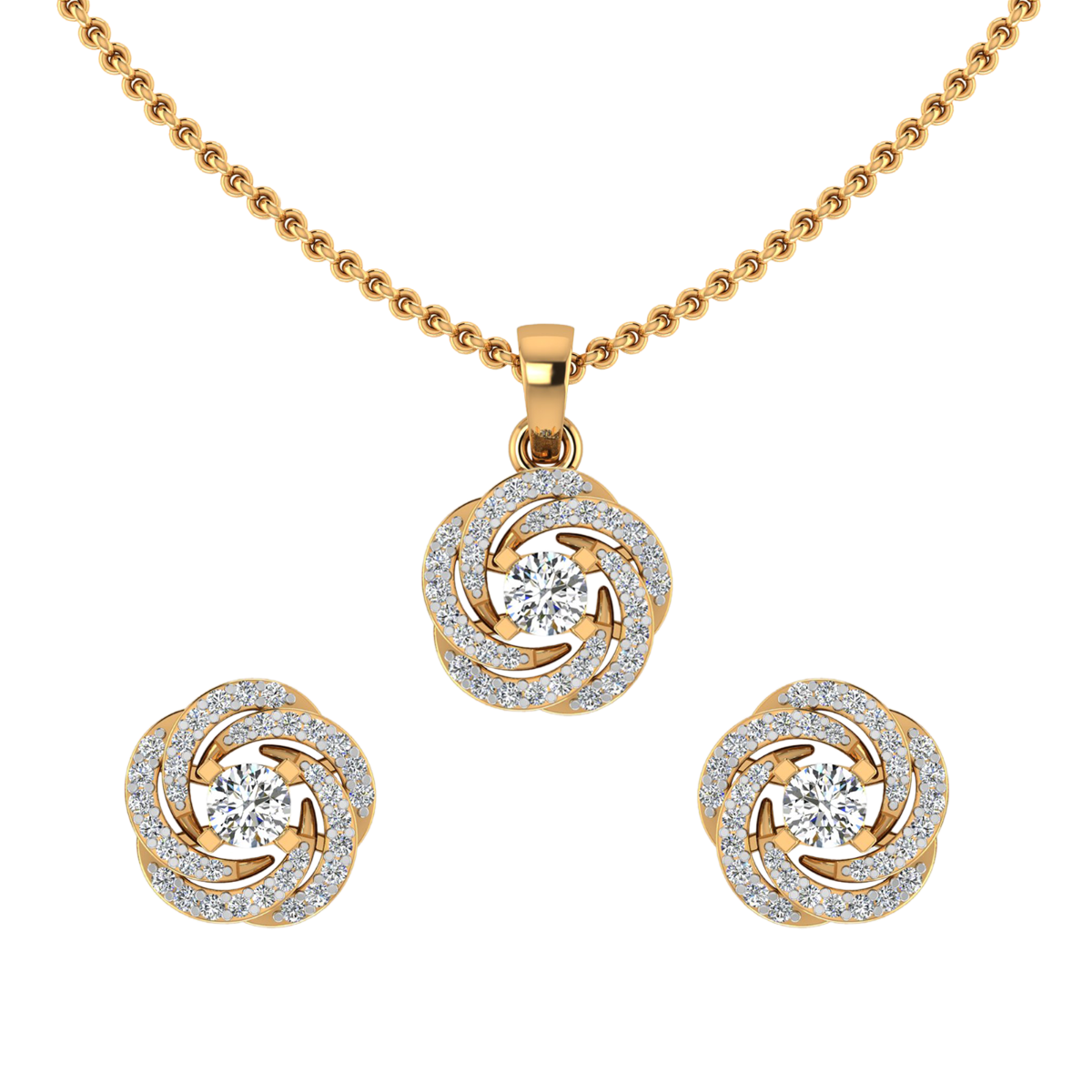 The Floral Whirl Diamond Pendant Set