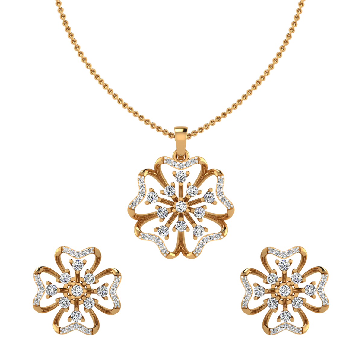 The Floral Beat Diamond Pendant Set