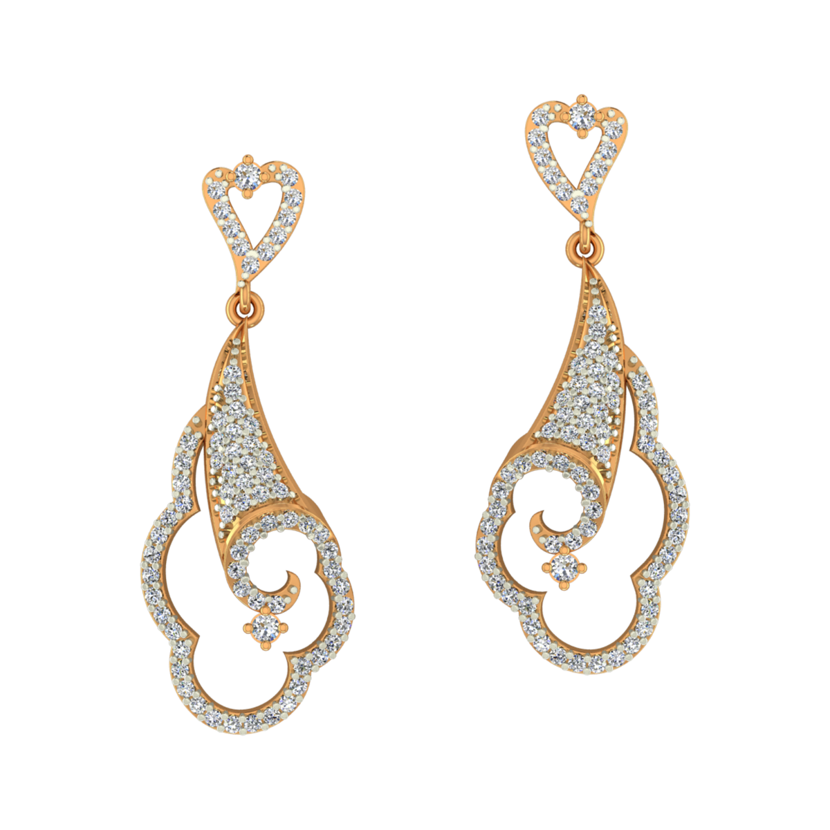 Sweet Danglers Gold Diamond Earrings