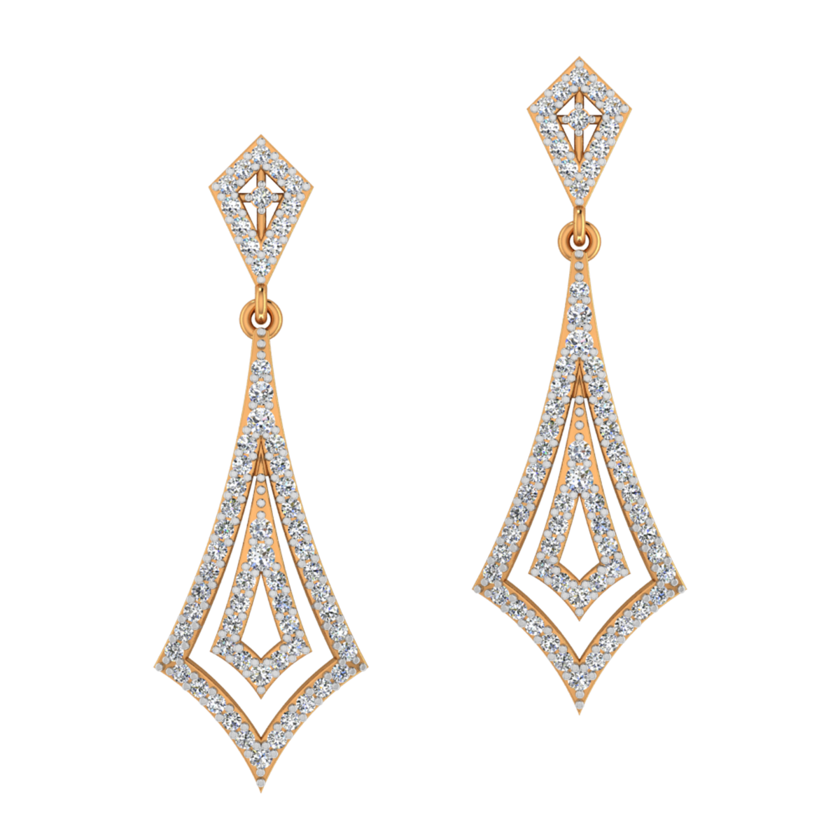 Right Dangle Gold Diamond Earrings