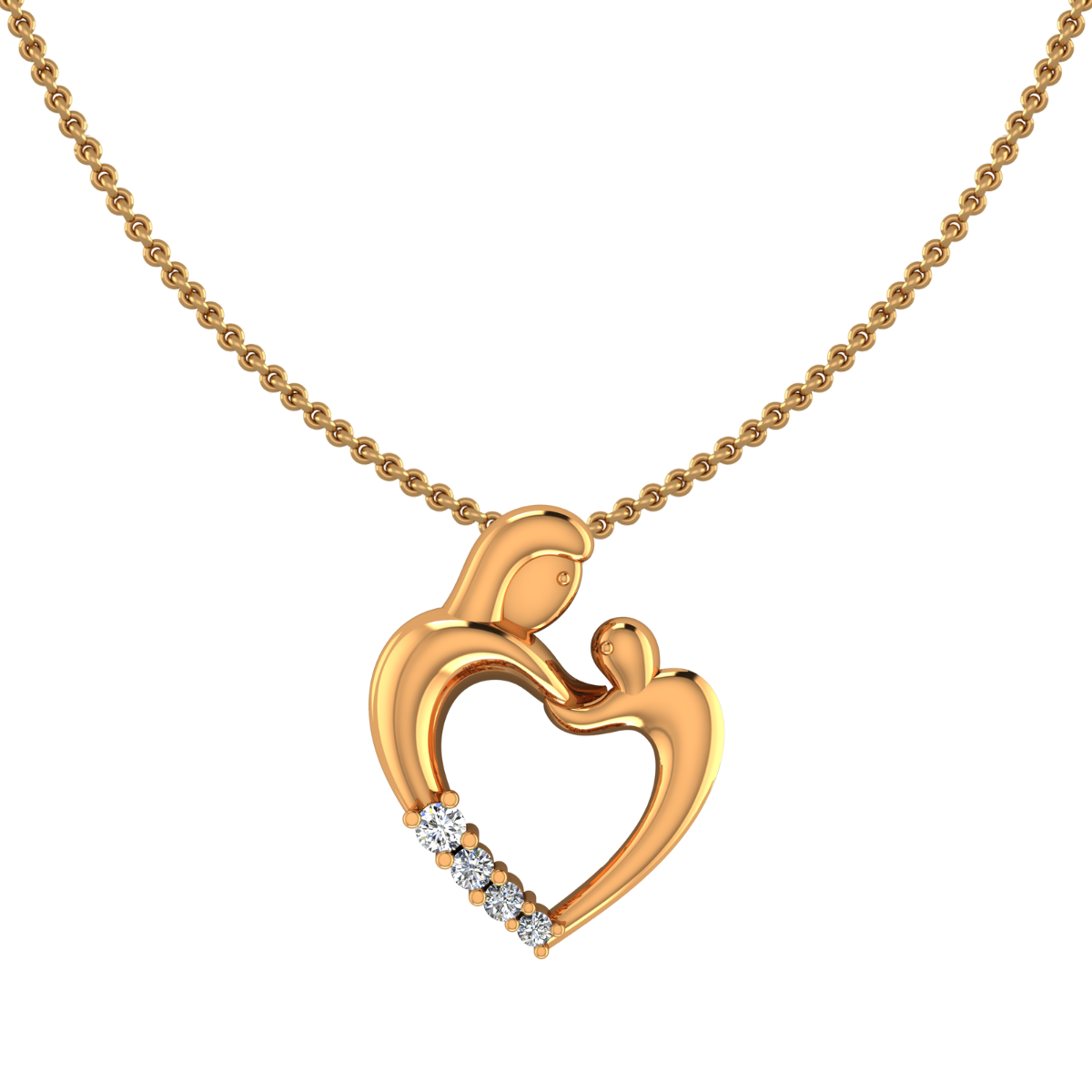 Mom & Baby Gold Diamond Pendant