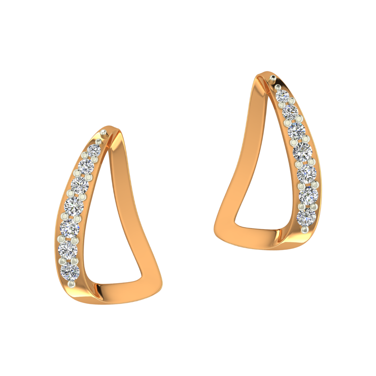 The Boats Gold Diamond Earrings