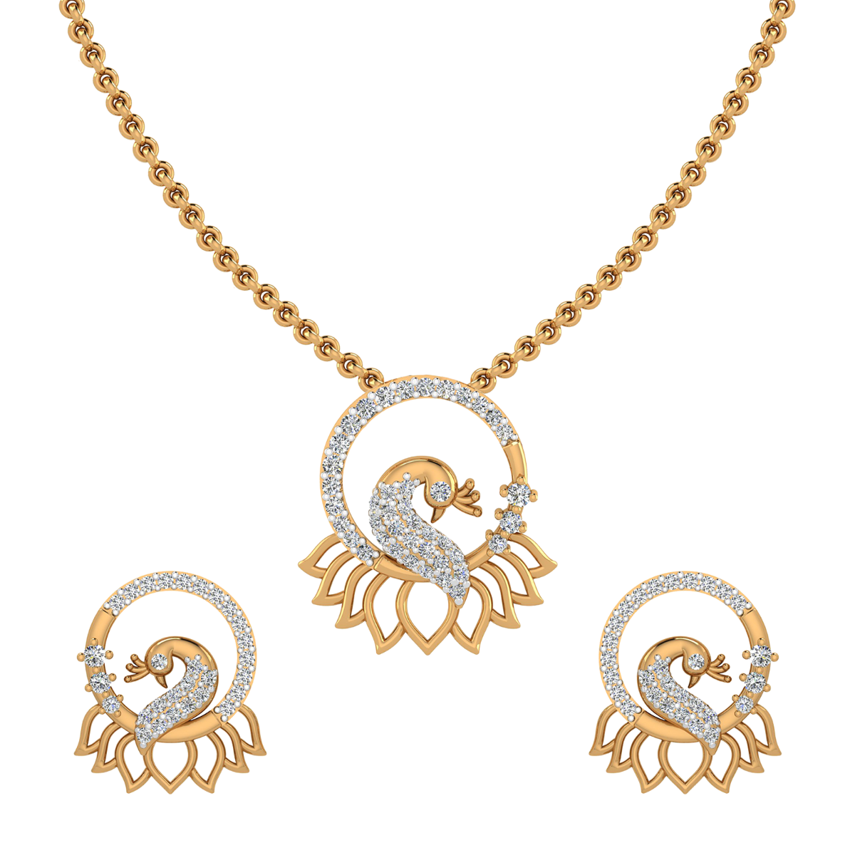 Fluffy Peacock Diamond Pendant Set