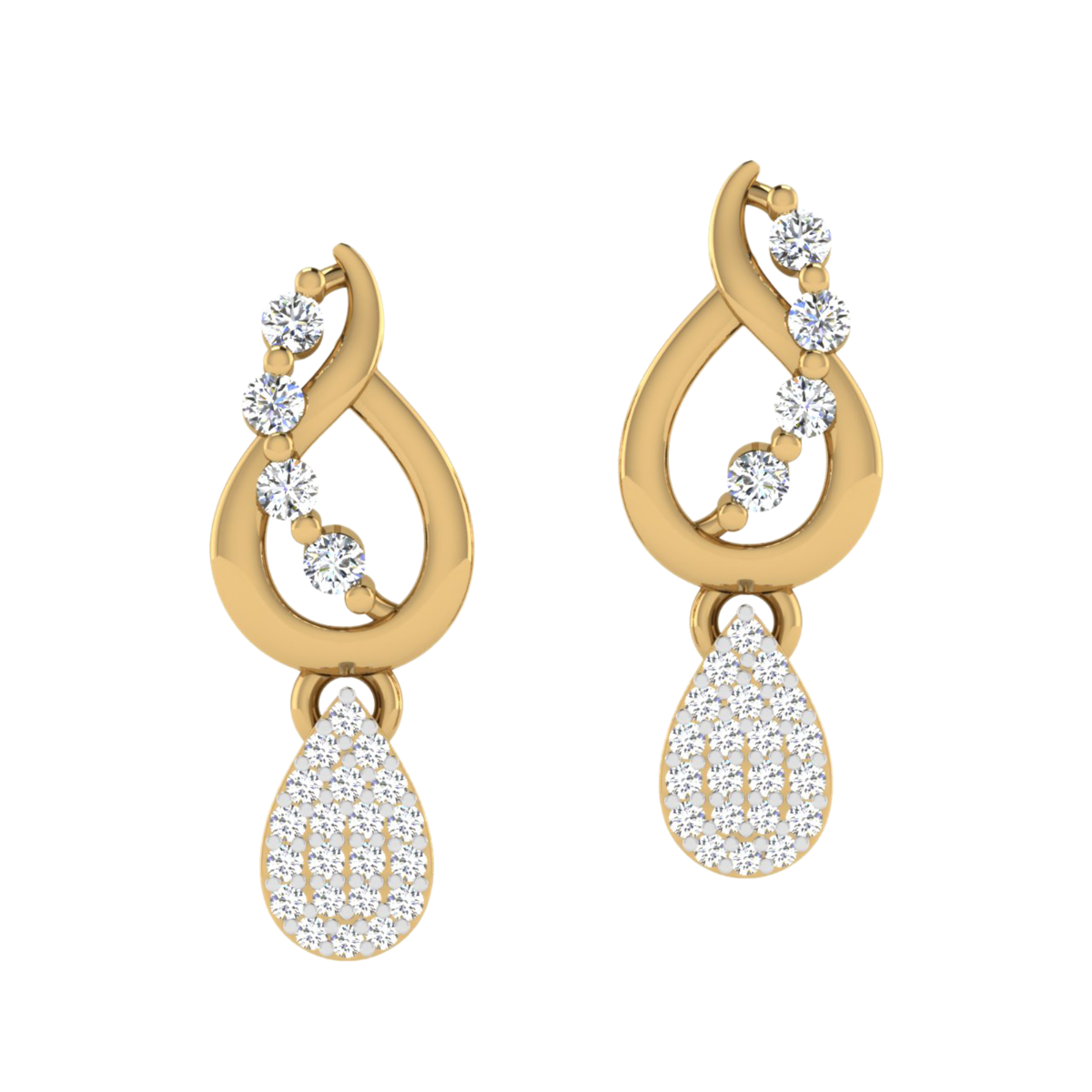 Dripping Droplets Diamond Stud Earrings