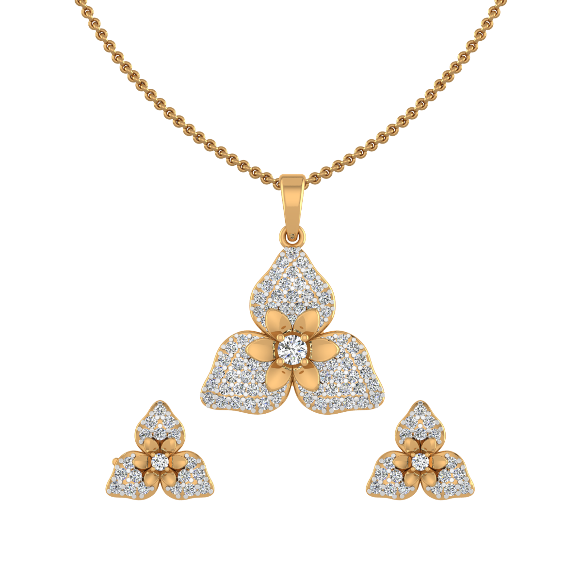 Floral Fleet Diamond Pendant Set