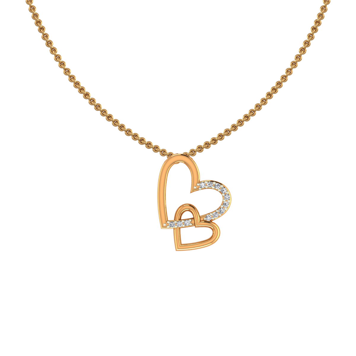Beautiful Hearts Gold Diamond Pendants