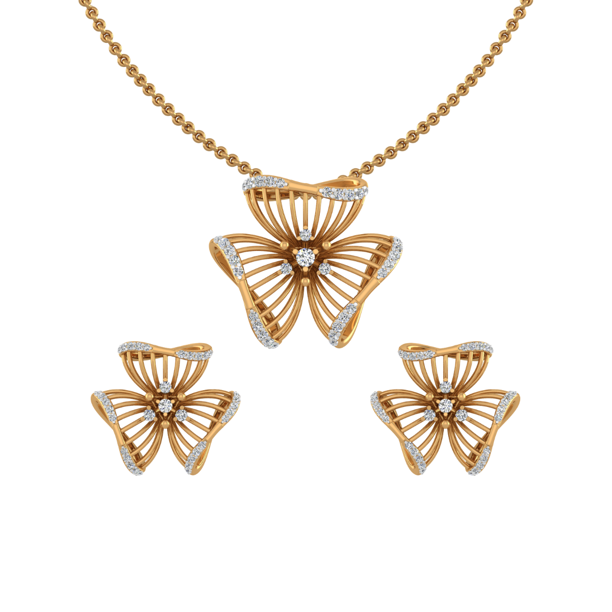 Floral Fly Diamond Pendant Set