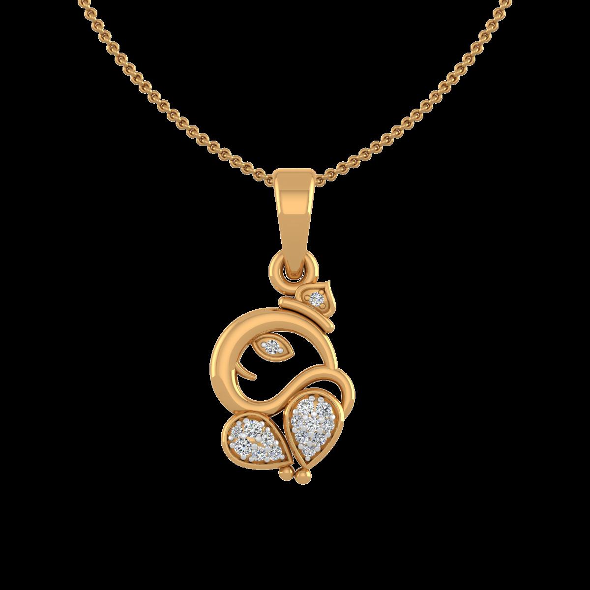 Auspicious Ganpati Gold Diamond Pendant