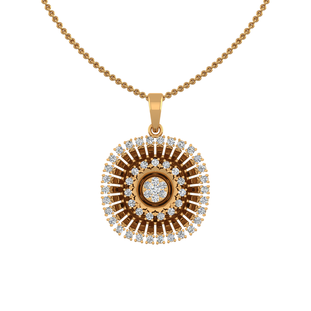 The Sunburst Gold Diamond Pendant