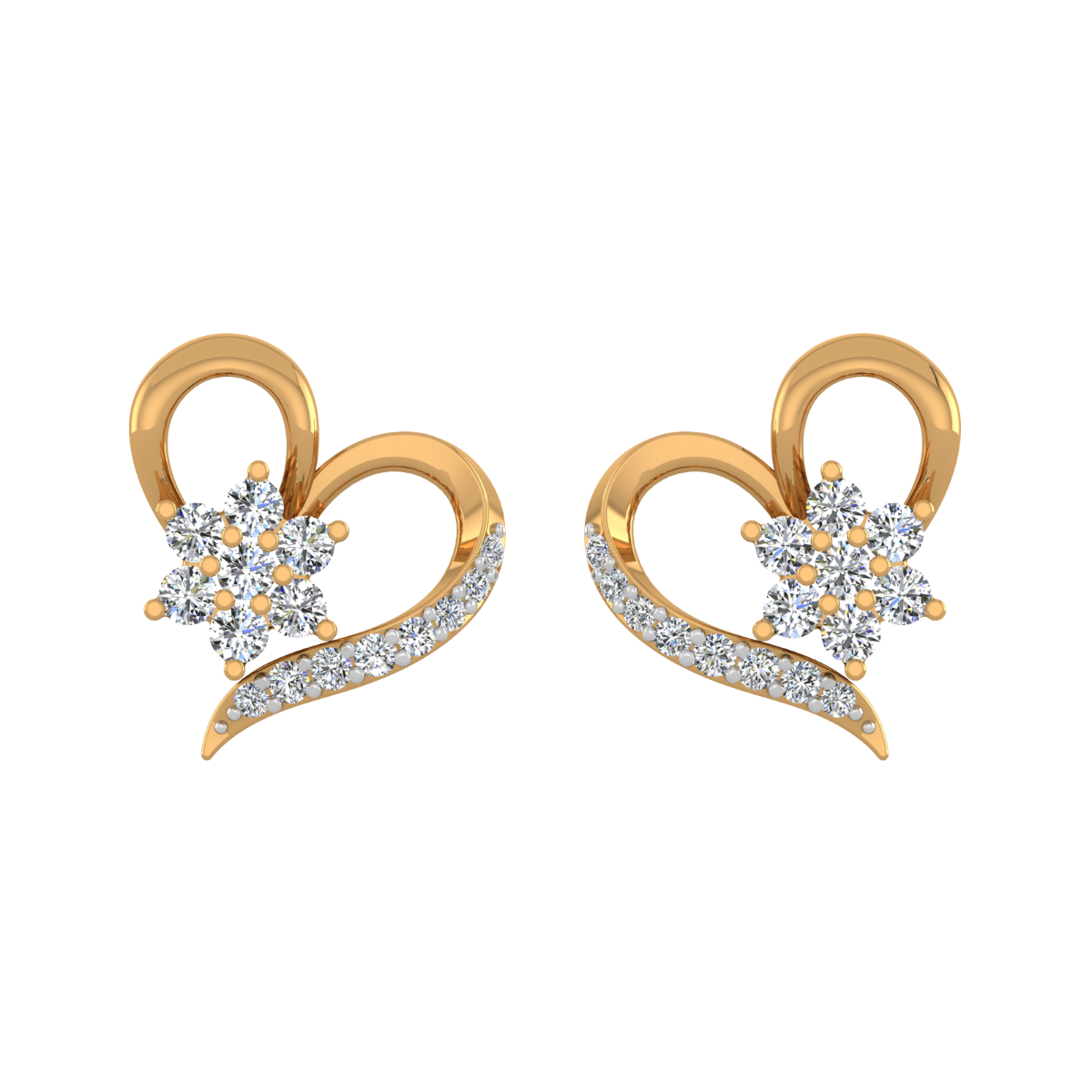 Floral Aspect Gold Diamond Stud Earrings