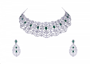 The Princess Studded Emerald & Diamond Necklace