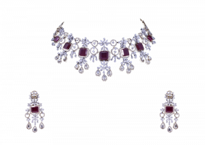 Dangling Flower Ruby Diamond Necklace