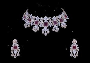 Dangling Flower Ruby Diamond Necklace