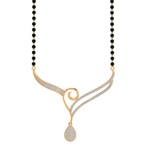 The Wings of Drop Mangalsutra With Black Beads Gold Chain