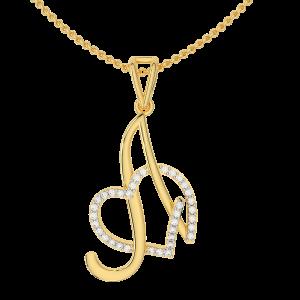Letter A Heart Gold Diamond Pendant