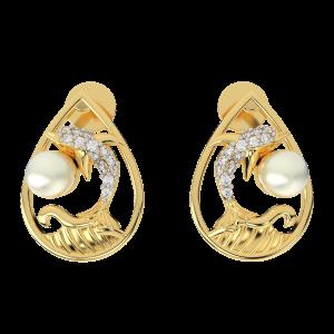 The Mermaid Magic Gold Diamond Earrings With Pearl