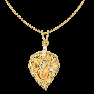 Lord Ganesha Leaf Gold Diamond Pendant