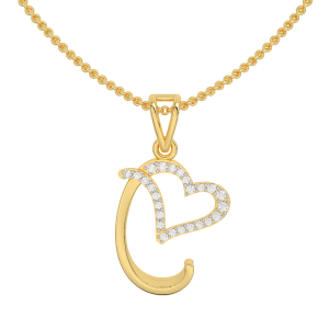 Letter C Heart Gold Diamond Pendant