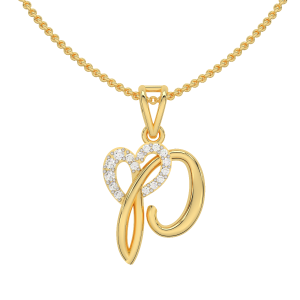 Letter P Heart Gold Diamond Pendant