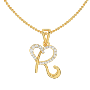 Alphabet R Heart Gold Diamond Pendant