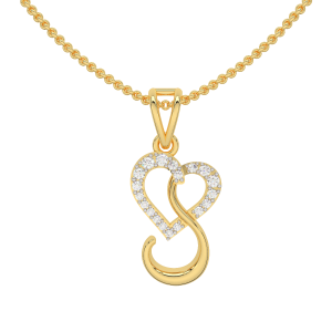 Letter S Heart Diamond Pendant