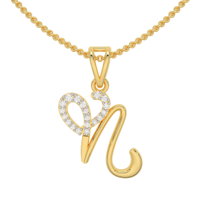 Letter N Heart Gold Diamond Pendant