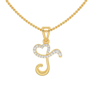 Alphabet T Heart Gold Diamond Pendant