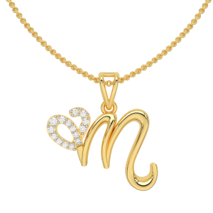 Letter M Heart Gold Diamond Pendant