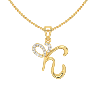 Letter K Heart Gold Diamond Pendant