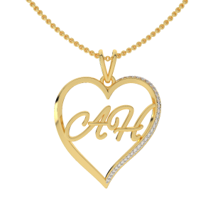 Get It Customized Couple Initials Gold Diamond Pendant