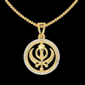 The Khalsa Symbol Gold Diamond Pendant