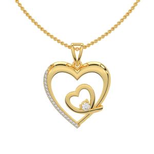 Like A Heartbeat Gold Diamond Heart Pendant