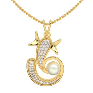 Lord Ganesha Gold Diamond Pearl Pendant