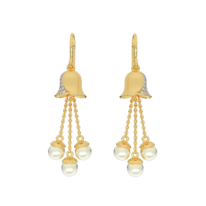 Ring My Bells Gold Diamond & Pearl Earring