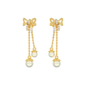 Knotty Danglers Gold Diamond & Pearl Earring