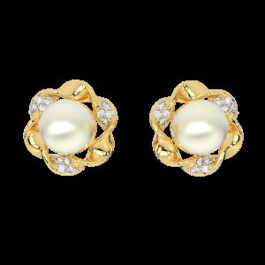 Mode N Mood Gold Diamond & Pearl Earrings