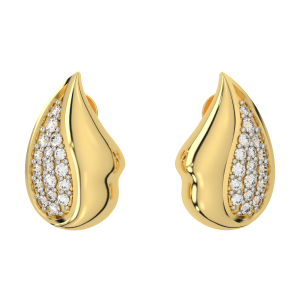 The Funky Droplets Gold Diamond Earrings