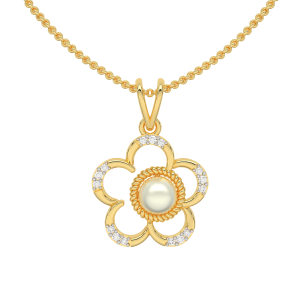 The Inflorescence Gold Diamond Pearl Pendant