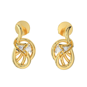 The Swirl Beauty Gold Diamond Earrings