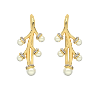 The Golden Twig Gold Diamond & Pearl Earring