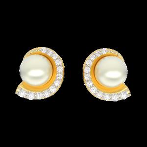 Sea Shells Gold Diamond & Pearl Earring