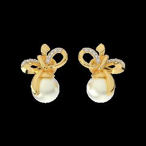 The Art Of Knot Gold Diamond & Pearl Earrings