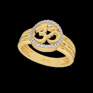 Auspicious Om Halo Gold Diamond Ring