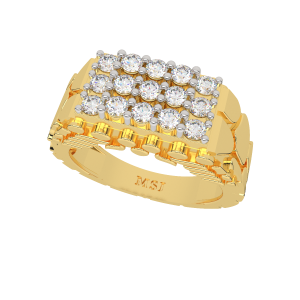 The Macho Matrix Gold Diamond Mens Ring
