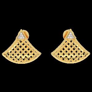 The Golden Lattice Diamond Stud Earrings