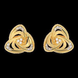 The Golden Whirl Diamond Studs Earrings