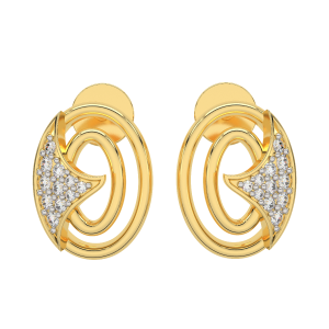 The Oval Treat Gold Diamond Earrings