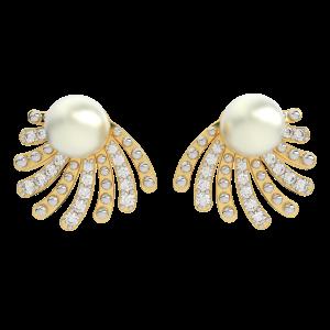 The Royal Shell Gold Diamond Earrings