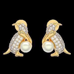 So Fluffy! Gold Diamond Pearl Earrings