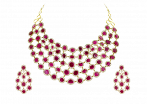 Rounded Chains Ruby Diamond Necklace Set
